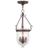 Livex 5083-58 Jefferson 3 Light 10 inch Imperial Bronze Pendant Ceiling Light in Seeded
