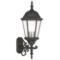 Livex 75467-14 Hamilton 3 Light 24 inch Textured Black Outdoor Wall Lantern