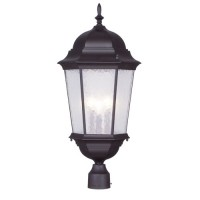 Livex 7568-07 Hamilton 3 Light 27 inch Bronze Outdoor Post Head in Clear Water