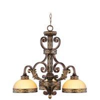 Livex 8523-64 Seville 3 Light 24 inch Palacial Bronze with Gilded Accents Chandelier Ceiling Light
