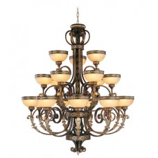 Livex 8539-64 Seville 18 Light 44 inch Palacial Bronze with Gilded Accents Chandelier Ceiling Light
