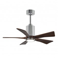 Matthews Fan Co PA5-CR-WA-42 Patricia-5 42 inch Polished Chrome with Walnut Tone Blades Paddle Ceiling Fan