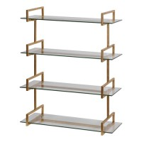 Uttermost 04038 Auley 32 inch Antiqued Gold Leaf Wall Mounted Shelves