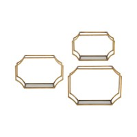 Uttermost 04048 Lindee 20 inch Antiqued Gold Wall Mounted Shelves, Set of 3