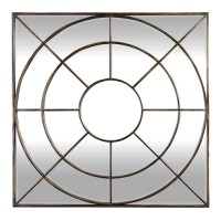 Uttermost 09444 Oberon 42 X 42 inch Distressed Rustic Bronze Wall Mirror