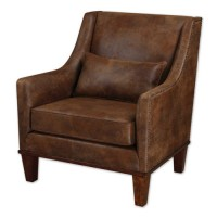 Uttermost 23030 Clay Faux Tanned Leather Fabric Armchair