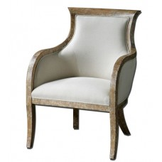 Uttermost 23080 Quintus Almond Stained Distressed White Mahogany Armchair