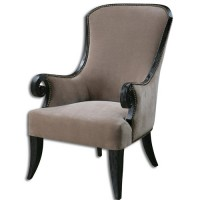 Uttermost 23113 Kandy Taupe and Black Armchair