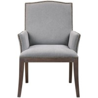 Uttermost 23379 Lantry Stony Gray Fabric with Driftwood and Gray Wash Accent Chair
