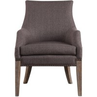 Uttermost 23392 Karson Taupe Gray Linen and Sandstone with Gray Wash Accent Chair