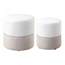 Uttermost 23426 Tilda 19 inch Oatmeal and Creamy White with Polished Nickel Ottomans, Set of 2
