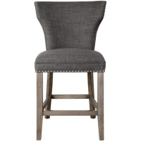 Uttermost 23433 Arnaud 40 inch Warm Charcoal Gray with Honey Stained Gray Wash Counter Stool