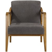 Uttermost 23434 Degory Honey Stain and Taupe Brown Accent Chair