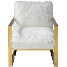 Uttermost 23438 Delphine White with Gold Accent Chair