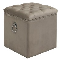 Uttermost 23455 Talullah 19 inch Champagne Velvet and Polished Nickel Storage Ottoman
