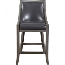 Uttermost 23465 Elowen 39 inch Steel Gray and Weathered Charcoal Brown Counter Stool