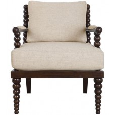 Uttermost 23476 Lachlan Rich Mahogany Stain and Blended Oatmeal Accent Chair