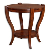 Uttermost 24142 Bergman 30 X 29 inch Sleek Legs Carved From Solid Poplar End Table