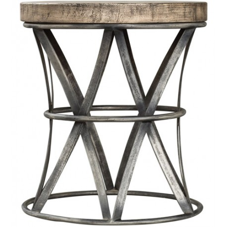 Uttermost 25836 Ranier 18 inch Aged Steel and Antique Driftwood Gray Accent Stool