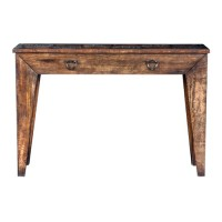 Uttermost 25872 Delara 54 inch Distressed Walnut Stain and Aged Steel Console Table