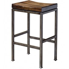 Uttermost 25893 Beck 30 inch Burnished Dark Walnut and Brushed Steel Bar Stool