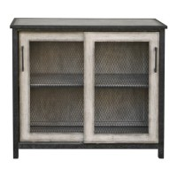 Uttermost 25997 Dylan Aged Iron and Aged Driftwood Gray Accent Cabinet