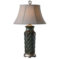 Uttermost 27455 Valenza 31 inch 100 watt Blue Glaze Table Lamp Portable Light
