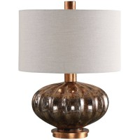 Uttermost 27780-1 Dragley 23 inch 150 watt Metallic Rust Bronze and Burnished Copper Leaf Table Lamp Portable Light
